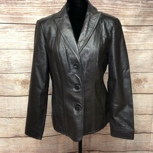 Leather Brown Blazer East 5th
